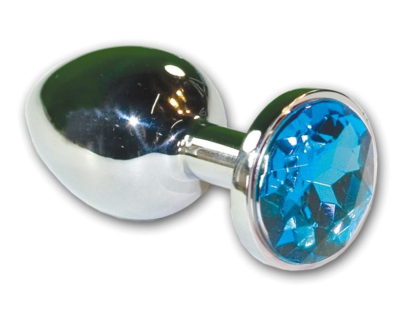 Stainless Steel Jewel Butt Plug Blue - Sex Crossroad-9904